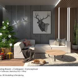 Black Beetle Design Living Room Conceptual Interior Design Xmas Setup Render